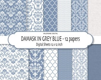 Damask digital paper, damask digital backgrounds, Blue digital paper, blue scrapbook paper - 150