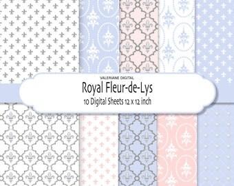 Fleur de lis  Digital Paper Pack in pastel colors-  Digital Scrapbook Paper or website background- 10 jpg 12x12 -  Pack 040