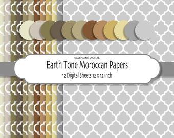 Digital Morrocan Paper, Damask Morrocan backgrounds,  Scrapbook printable paper pack, 12 jpg files 12x12  INSTANT DOWNLOAD Pack 045