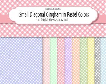 Gingham Digital Paper Pack, small diagonal pattern in Pastel colors, Digital Scrapbook Paper, 10 jpg files - INSTANT DOWNLOAD Pack 050