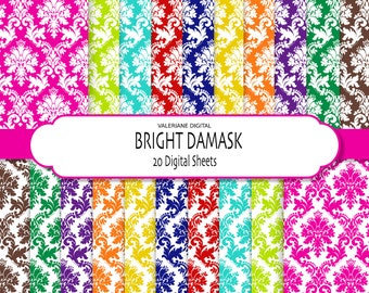Damask Digital Paper, bright digital paper, scrapbook paper, 20 bright damask papers - 231