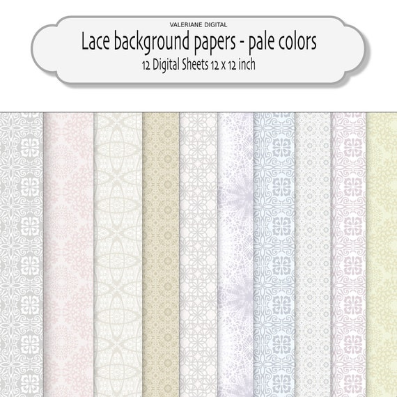 Very pale lace backgrounds -  Lace Digital Scrapbook Printable Paper for Photography, Stationary - 12 jpg  files - INSTANT DOWNLOAD Pack 186