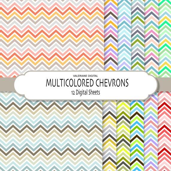Chevrons Digital Paper Pack - Modern Digital Papers - jpg files - INSTANT DOWNLOAD 249