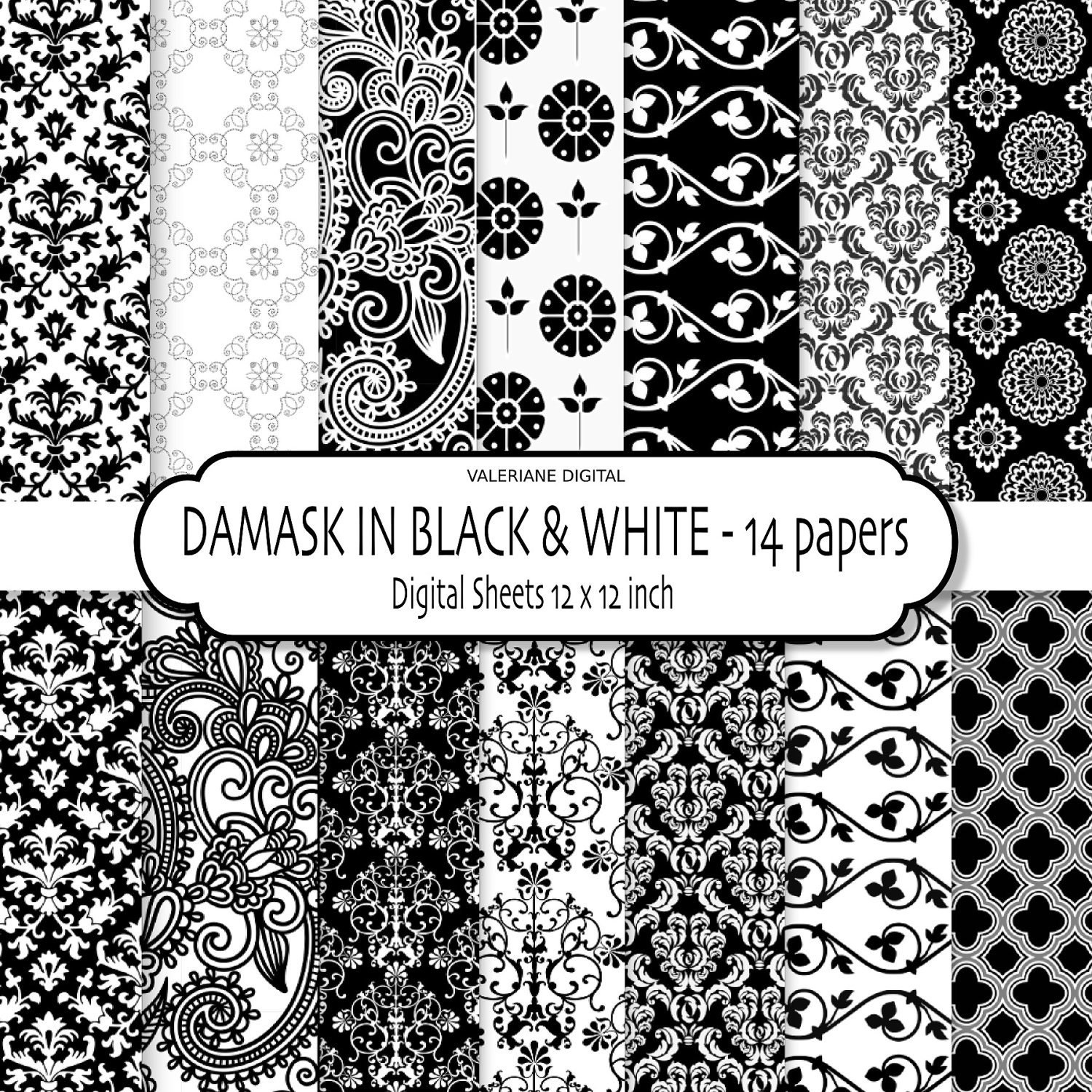 Black & White Digital paper Black and white Digital Scrapbook