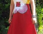 Handmade Women Harvest Dress Sundress in Cotton with Crochet Doily