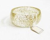 VIntage Lucite Gold Flake Bangle Bracelet   Italy