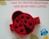 Red and Black LADYBUG Felt Hair Clip Baby Toddlers Girls