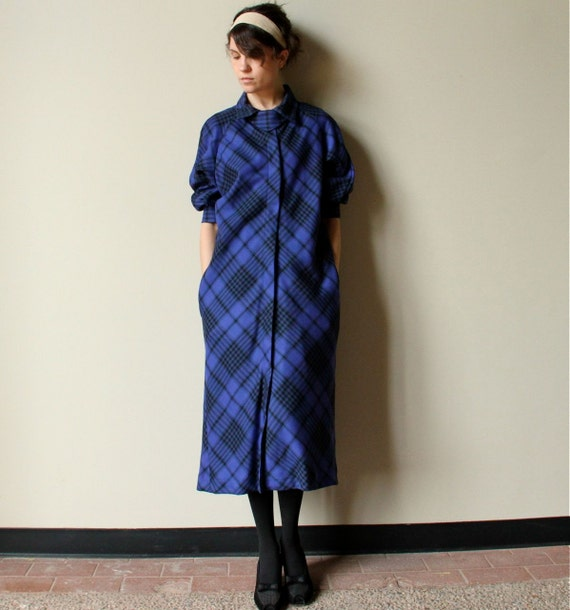 60s Cobalt Blue Plaid Jacket - vintage Mad Men era light wool dress coat, bright Indigo & black, built in neckerchief