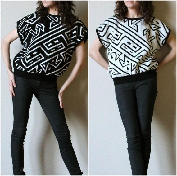 80s B Girl Sweater Vest, black & white geometric knit tee, reversible avant garde New Wave graffiti art hipster old school Hip Hop shirt