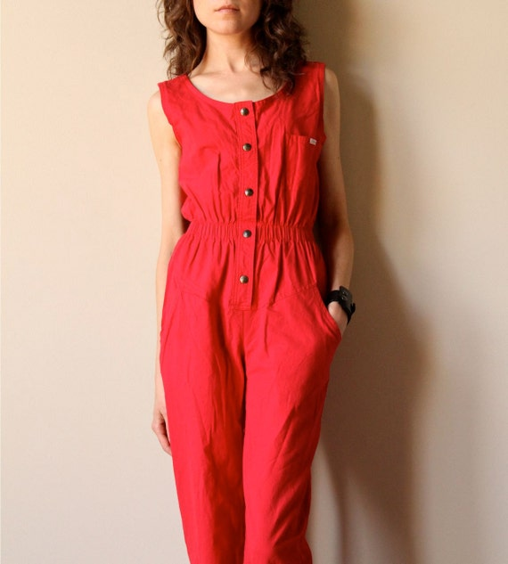 Red 80s Cotton Jumpsuit - vintage mechanic style cropped ankle pants New Wave sleeveless one piece overalls, cherry candy apple crimson