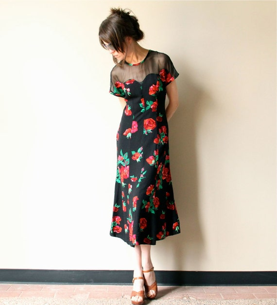 Rose Print Dress - vintage 80s 90s kitsch grunge / pin up bombshell 40s style, sweetheart neckline party frock, floral rayon & sheer black