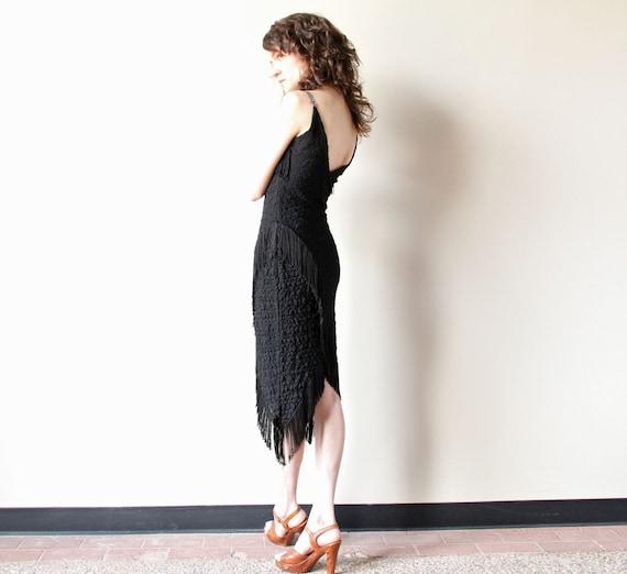 RESERVE Black Fringe Dress 80s stretch lace salsa burlesque party frock, asymmetrical hem, rhinestone plunging sweetheart neckline