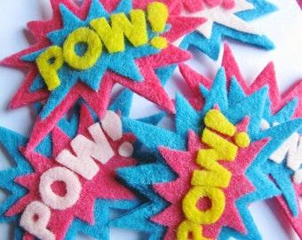 Girly POW Superhero Set of Felt Hair Clips