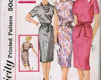 1960's Misses' One-Piece Dress  Simplicity 3780  Size 10  Bust 31