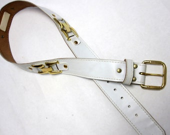 White Gold Leather Belt