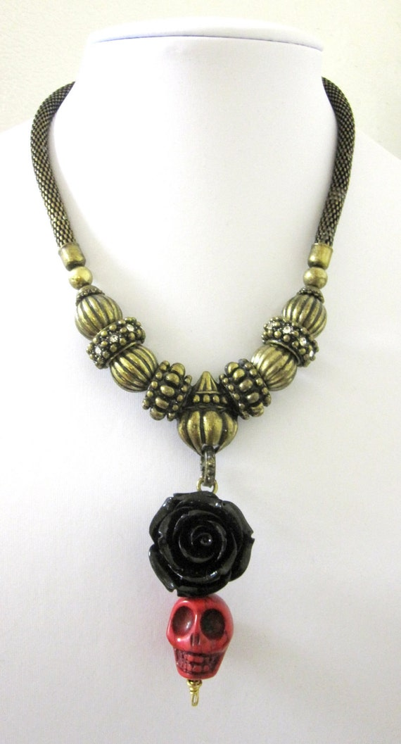 day of the dead necklace sugar skull black bold brass