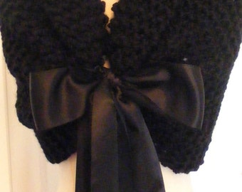 Wedding Shawl/Winter Wedding/Wedding Shrug/Bridal Cape/Black Shawl/Formal Wedding/Black Tie/Romantic Wedding/Bridal Cover Up/Black Wedding