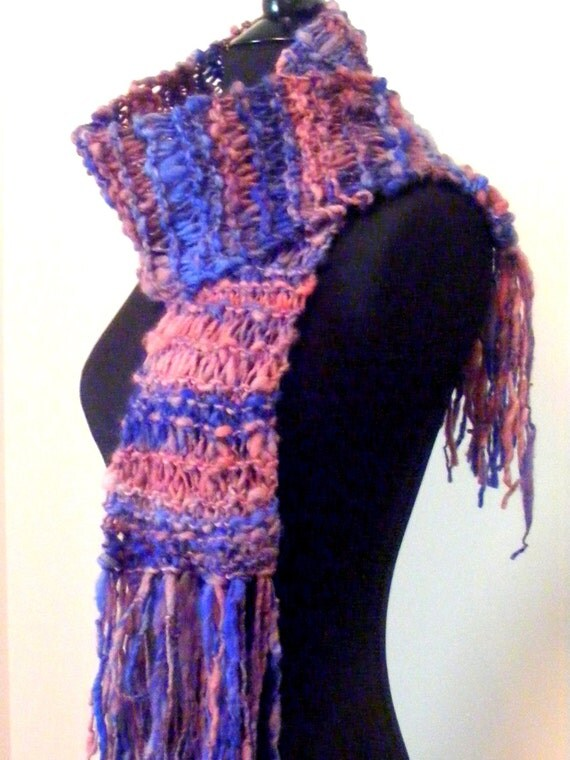 Hand Knit Scarf/ Pink and Blue Scarf / Hand Spun Yarn Scarf / Fashion Scarf/ Blue and Pink / Multicolor Scarf
