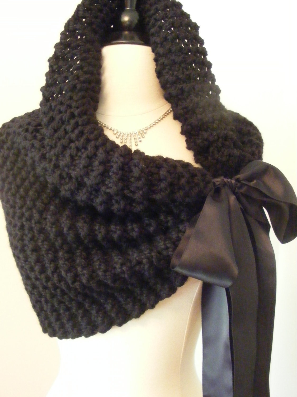 Knitting Patterns For Bridal Shawls : Bridal Shawl/Wedding Cape/Bridal Bolero/Wedding Shawl/Black