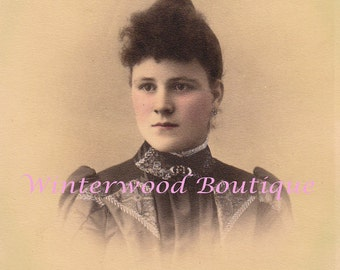 Elegant Edwardian Woman Photograph Hand Tinted