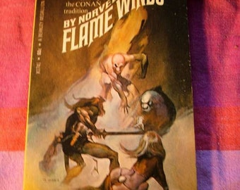 Norvell W. Page Flame Winds J. Jones Design Cover Art Conan style Heroic Fantasy 1969 Paperback Pulp