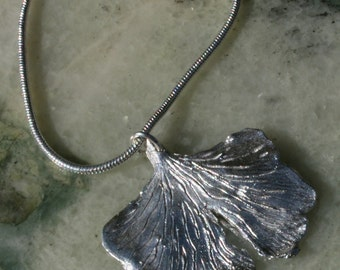 Fine Silver Ginkgo Leaf Necklace - medium leaf