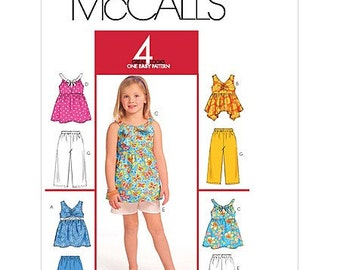 McCall's Pattern M5612 Children's/Girls' Tops, Shorts and Capri Pants Wardrobe Collection Sizes 3-6 NEW