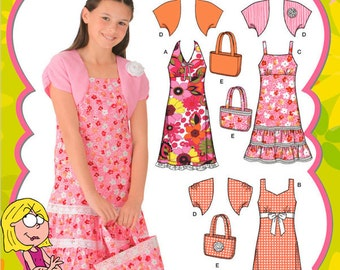 Simplicity Pattern 4255 Girls' Dresses, Shrug and Purse Sizes 8.5-16.5 NEW