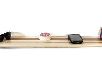 Large Wooden Surfboard Shelf Poplar & Cedar Twin Stripe 3 Foot