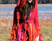 Made to order Super Cute Recycled Sweater coat  Pixie Elf Faery Nymph Anenome Fuschia UV Glow Fantasy  Hoodie Jacket