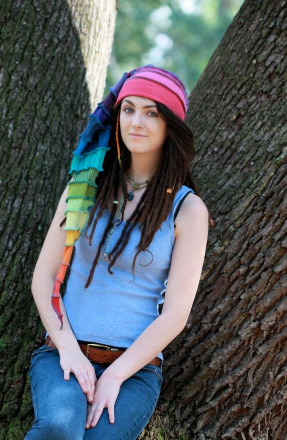 Adult Stocking cap long,rainbow, Elf hat, recycled sweater, Hippie ,winter fun,ski,snowboard,nordic, toboggan