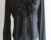 simple sheer black button up with detailed ruffle collar and sleeve hems- on sale