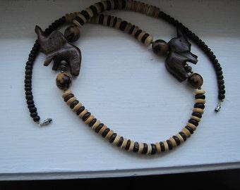 vintage wooden elephant ethnic beaded necklace