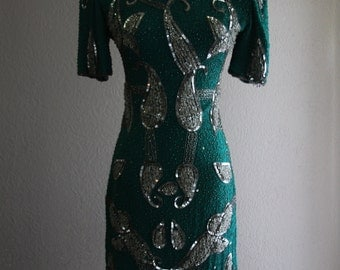 darling vintage heavily beaded and sequined GATSBY silver and teal glam dress with cut out back DEADSTOCK- SALE