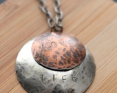 Quote necklace, hamndstamped necklace, silver, copper, bronze, personalized jewelry