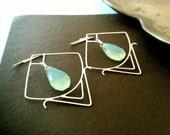 Chalcedony Earrings, Sterling silver earrings, metalwork jewelry, blue stone earrings
