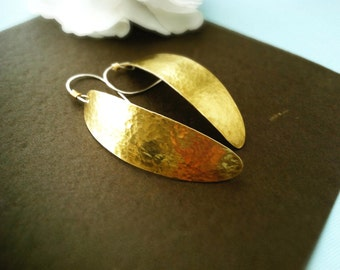 Hammered brass earrings, brass and silver earrings, statement earrings