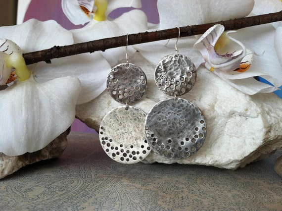Hammered Silver Earrings - Modern Silver Earrings -  hole punched earrings - sterling silver jewelry