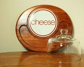 Vintage Teak Goodwood Platter and Ceramic Cheese Tile with Dome Lid