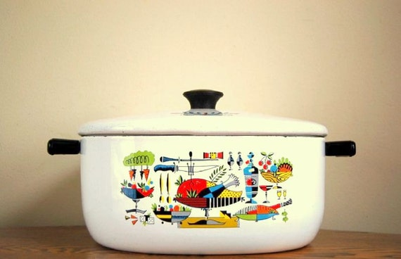 Vintage Georges Briard Inspired Enamel Stock Pot