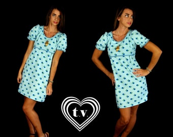 vtg 60s sky blue FLORAL empire BABYDOLL mini DRESS mod Small retro dolly puff sleeve