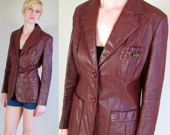 vtg 80s burgundy ETIENNE AIGNER fitted soft Leather JACKET blazer Medium riding boho