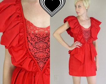 vtg 80s Red PLUNGING LACE cocktail DRESS xs origami ruffles open back avant garde unique party