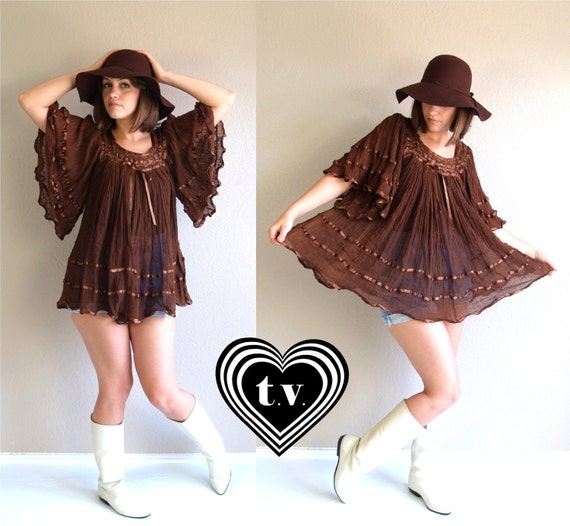 vtg 70s Chocolate Brown MEXICAN sheer gauze crochet TUNIC TOP shirt blouse os boho hippie