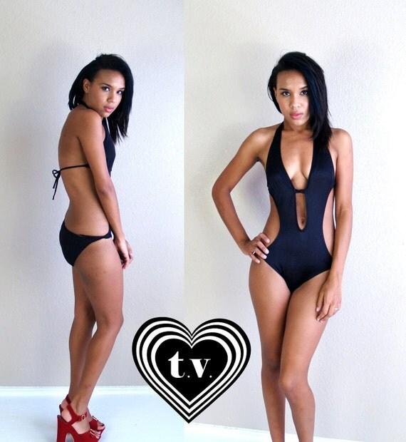 sexy vtg 70s black CUT OUT plunging MONOKINI swimsuit xs/s vixen swim bathing suit