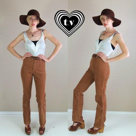 vtg 70s Cinnamon HIGH WAIST Corduroy PANTS skinny fit xs/25 supermodel length trousers