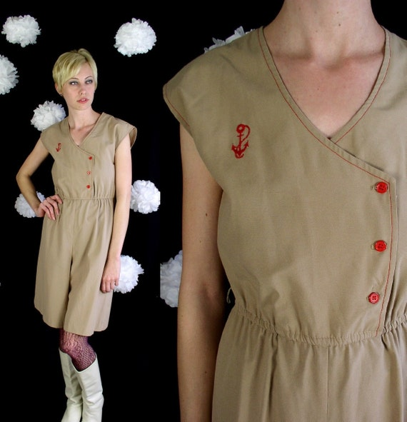 Nautical vtg 70s Camel, Red ANCHOR wide leg PALAZZO JUMPSUIT romper xs/s hippie sailor