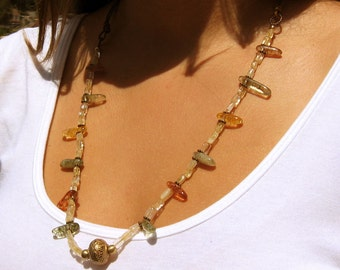 Golden Yellow Citrine, Mossy Agate and Brass Necklace