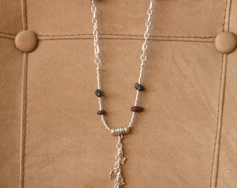 Agate pendant with charms tiger eye accents silver chain 36""