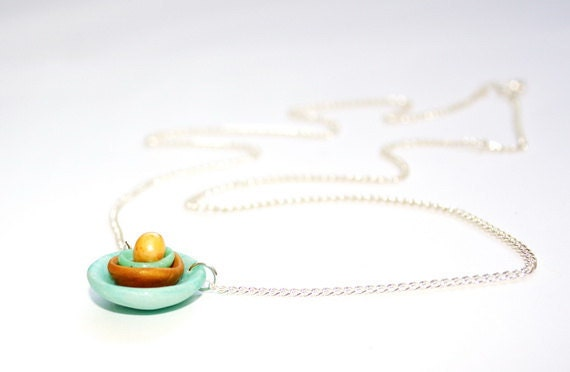 Layered necklace green and gold Polymer clay Israel jewelry Boho layered abstract minimalism